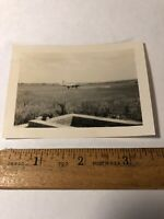 Vintage WWII Original Photo Photograph Airfield with Plane