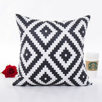 "Geometric Black & White Sofa Throw Cushion Cover Diamond Pillow Case 18"" x 18"""