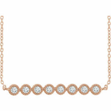 """Diamond Bar 16-18"""" Necklace In 14K Rose Gold (1/5 ct. tw.)"""
