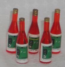5x Weinflasche,rot,Maßstab 1:12,Miniatur f.d. Puppenstube/Puppenhaus  #02#