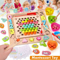 Montessori Toy Wood Jigsaw Puzzle Training Clip Beads Math Educational Kids Gift