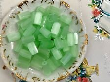 Vintage Frosted Glass Beads, Shabby Chic Beads, Vintage Satin green Bugle #82S