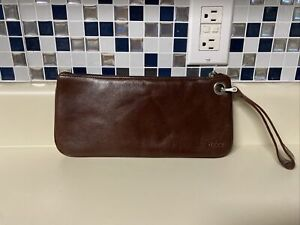 BG Hobo International Zoe Brown Leather Wristlet Clutch Bag