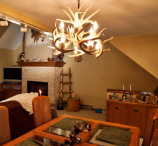SUNBLEACHED REAL ANTLER WHITETAIL CHANDELIER BY CDN