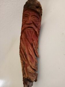 Wood Spirit Carving Head Sculpture Forest Face Tree Wizard Carved Art
