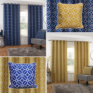 KELSO Eyelet Curtains Geometric Mosaic Pattern Lined Ring Top Curtains Pair