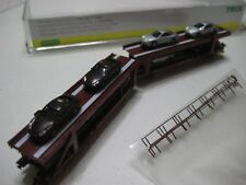 2 Trix/Minitrix/Herpa Autotransporter Railroad Cars w/ Porsche Cars 1:87 NIB