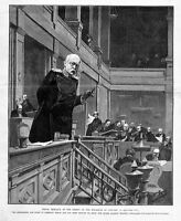PRINCE BISMARCK AT THE SESSION OF THE REICHSTAG, GERMANY, CHANCELLOR, ORATORY