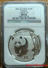 2001 china 1oz large D silver panda coin NGC MS68