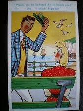 POSTCARD COMIC/ SEASIDE HUMOUR MAN ASKING TO SIT NEXT TO A LADY