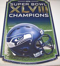 "Seattle Seahawks 11x17"" Wood Sign 2013 Super Bowl XLVIII 48 Champions Champs"