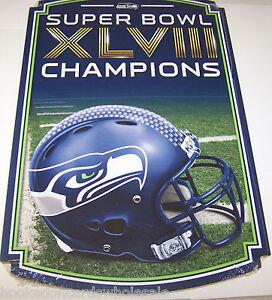 "Seattle Seahawks 11x17"" Wood Sign Super Bowl XLVIII 48 Champions Champs"