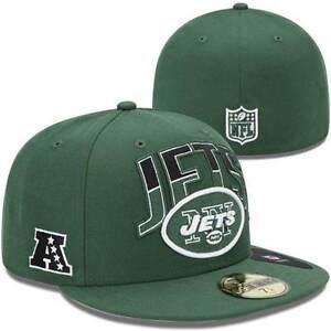 NEW YORK JETS HAT NEW ERA 59/FIFTY FLAT BILL 7 1/2 CAP FOOTBALL NFL DRAFT FITTED
