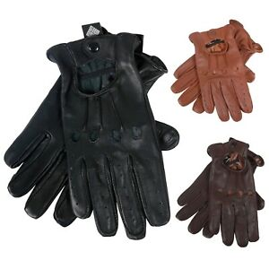 Real Leather Men's Retro Driving Fashion Chauffeur Mitts biker Gloves (AA)