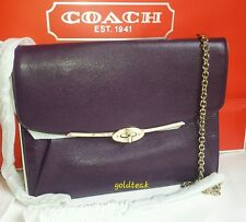NWT COACH 66215 MADISON LEATHER CROSSBODY IN BLACK VIOLET F66215