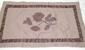 Revman Broomstick Bed Skirt & 2 Floral Pillow Shams ~ Brown/Tan ~ King *NEW*