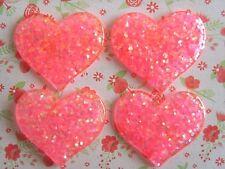 4x Corazón de Resina Dorso duro para Libros bastante brillo Adorno Cabello Moño Artesanías de Cabujón de Reino Unido