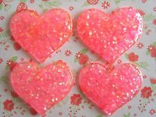 4x Pretty Glitter Heart Flatback Resin Embellishment Crafts Hair bow Cabochon UK