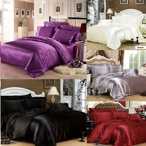 7pc Silk Satin Duvet Cover Silky Bedding Set Fitted Sheet 4 Pillow Cases Cushion