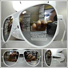 OVERSIZED VINTAGE RETRO Style SUN GLASSES White Frame Flat Chrome Mirrored Lens