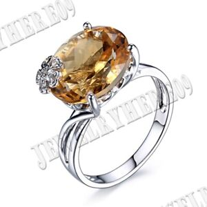 Fine Jewelry 14k White Gold 5CT Oval 13x11mm Citrine Real Diamonds Wedding Ring