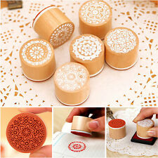 Newest 6pc Lace Doily Round Wooden Rubber Stamps For Card Making & Scrapbooking