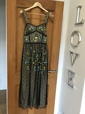 Gorgeous Frock And Frill Black Mesh Floral Embroidered Maxi Dress UK 8 Worn Once