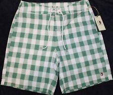 Duck Head Mens Green White Checks Board Shorts Bathing Suit NWT $110 Size M