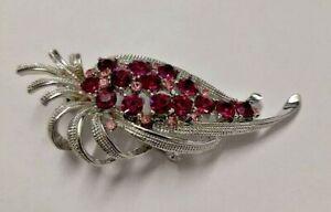 Vintage Silver and Purple Pink Gem Brooch Hallmarked