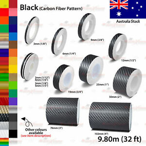2mm-100mm PIN STRIPE Car Model Truck Line TAPE Vinyl Stickers CARBON FIBER BLACK