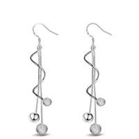 925 Silver Plated Women Beads Long Wire Tassel Ear Drop Dangle Hook Earring Gift