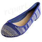 New women's shoes ballet flat ballerina gold studs comfort casual Blue