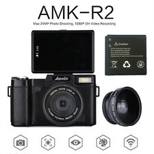 Amkov Amk-R2 24Mp 1080P Hd Digital Slr Dslr Camera+Wide-angle Lens+Extra Battery