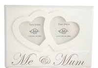 Me and Mum Twin Hearts Photo Frame Wooden Cream Freestanding Mothers Day F1217C
