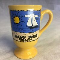 Navy Pier Chicago Ceramic Coffee Mug Cup Yellow w/Beach & Sailboat EUC