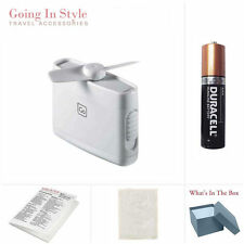 Micro Travel Fan WHITE with Backup AAA Battery and  Bag Set | Going In Style