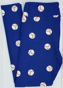 TC LuLaRoe Tall & Curvy Leggings White Baseballs Blue Red Stitching NWT G13