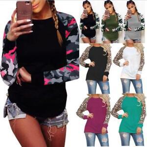 Plus Size Womens Camo Leopard Long Sleeve Ladies Casual T-Shirt Tops Blouse 6-22