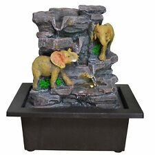 Small Indoor Elephants On Rocks Water Fountain With LED Light. New