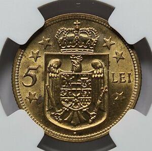 ROMANIA 5 lei 1930 H NGC MS 63 UNC Mihai Heaton Superb Luster #3