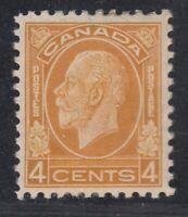 """Canada MINT OG Scott #198 4 cent ochre """"KGV Medallion"""""""