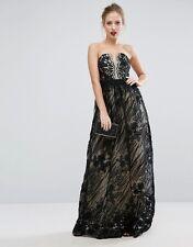 NEW Little Mistress Contrasting Lace Maxi Dress, Black, Size 8, RRP £150