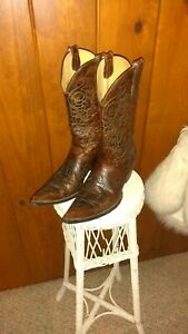 Old gringo brown and turquoise embroidered womens boots size 11