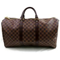 Authentic Louis Vuitton Boston Bag Keepall 50 N41427 Browns Damier 824549
