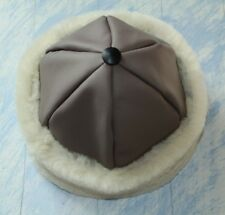 Warm hat made from natural materials, italian leather, sheepskin men/women
