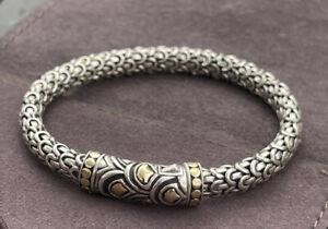 """John Hardy Sterling Silver 18k accent gold 925 Naga station Bracelet Size 7 1/4"""""""