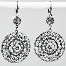 Ohrringe Ohrhänger groß Silber Swarovski Kristall – Vintage retro – Crystal klar