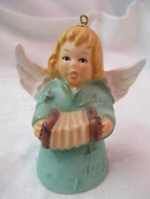 Vintage 1979 West Germany Goebel Angel Bell Ornament green with Accordion