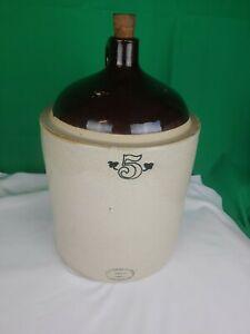 Antique 5 gallon Western Stoneware No. 5  Crock Jug Moonshine  Whiskey Solid IL
