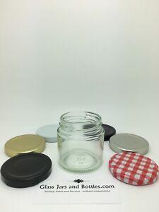 125ml Round Glass Jam Jars - Wedding Favours, Preserves, Sweets - c/w 58mm lids